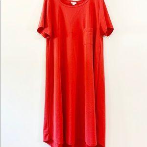 LULAROE CARLY Imprinted Pattern Dress Peach 3XL